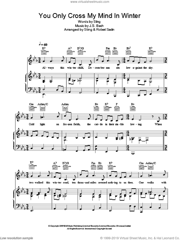 You Only Cross My Mind In Winter sheet music for voice, piano or guitar by Sting, Robert Sadin and Johann Sebastian Bach, intermediate skill level