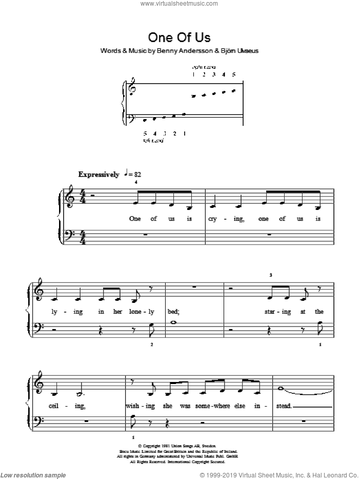 One Of Us sheet music for piano solo by ABBA, Benny Andersson, Bjorn Ulvaeus and Miscellaneous, easy