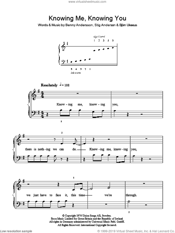 Knowing Me, Knowing You sheet music for piano solo by Stig Anderson