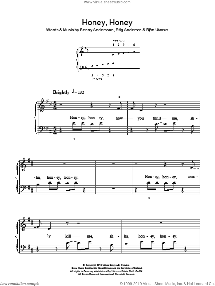 Honey, Honey sheet music for piano solo (chords) by Stig Anderson