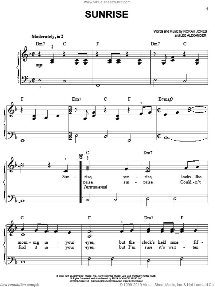 Sunrise sheet music for piano solo by Norah Jones and Lee Alexander, easy skill level