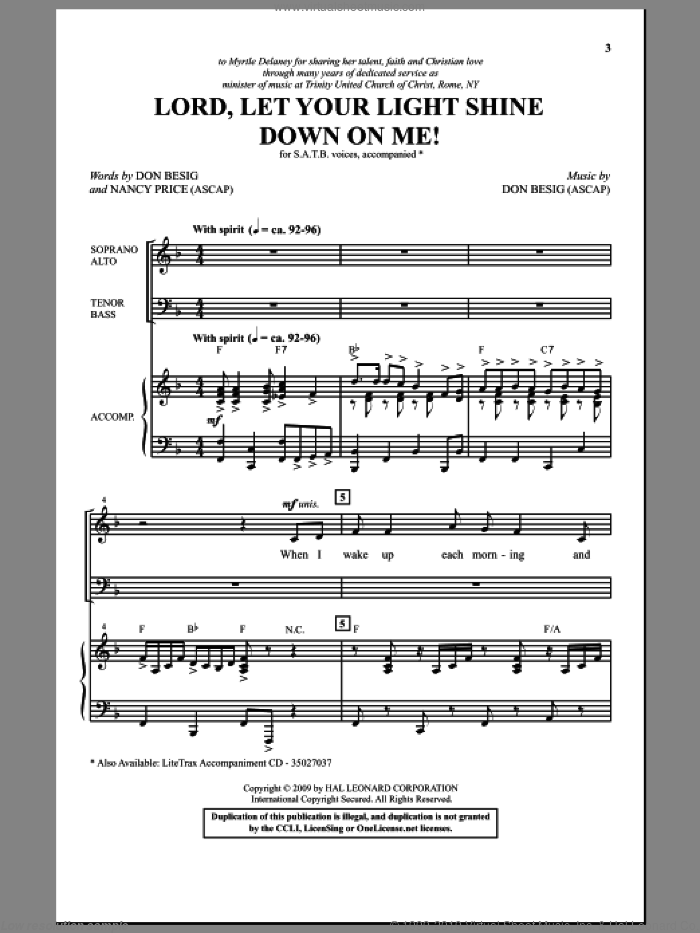 Lord, Let Your Light Shine Down On Me! sheet music for choir and piano (SATB) by Nancy Price