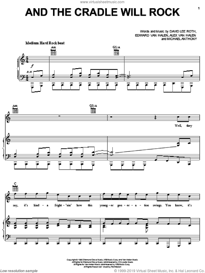 And The Cradle Will Rock sheet music for voice, piano or guitar by Edward Van Halen, Alex Van Halen, David Lee Roth and Michael Anthony, intermediate skill level