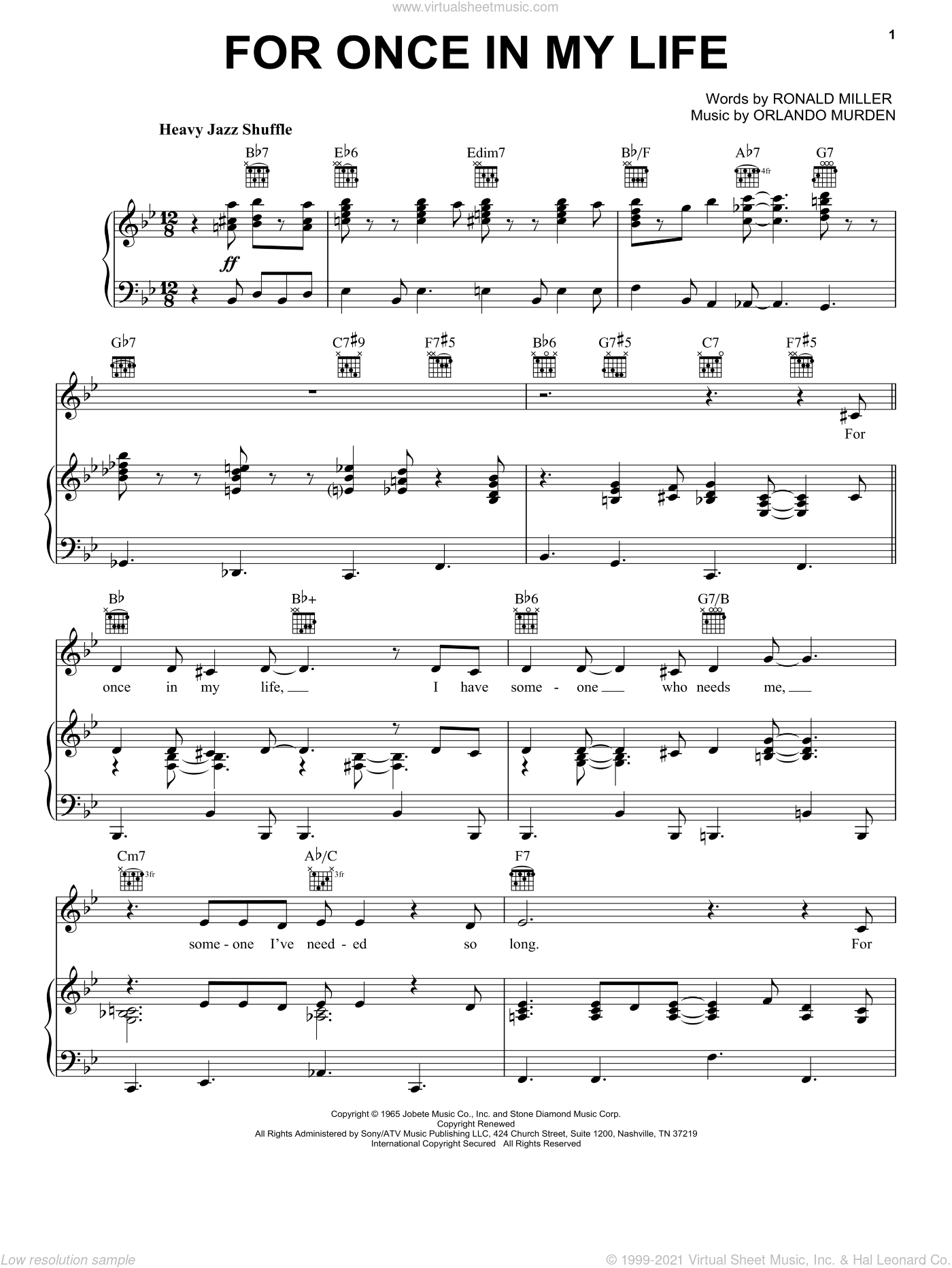 For Once In My Life sheet music for voice, piano or guitar by Robert Wells