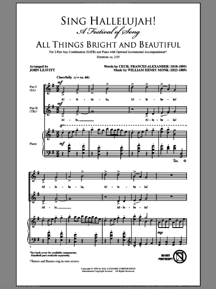 Sing Hallelujah! A Festival Of Song sheet music for choir (SATB: soprano, alto, tenor, bass) by John Leavitt, intermediate. Score Image Preview.