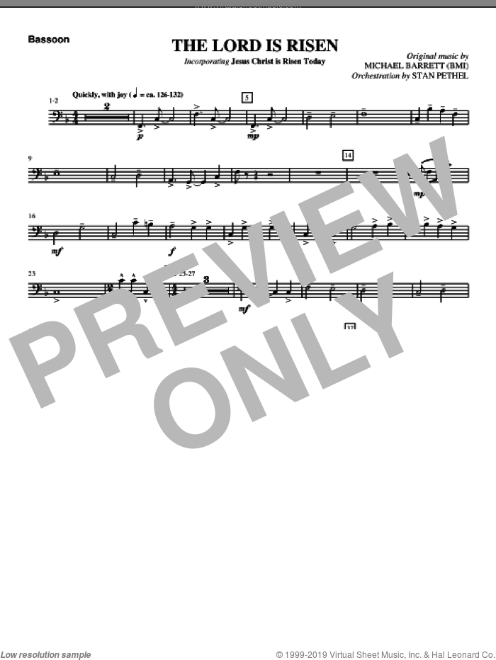 The Lord Is Risen sheet music for orchestra/band (bassoon) by Michael Barrett
