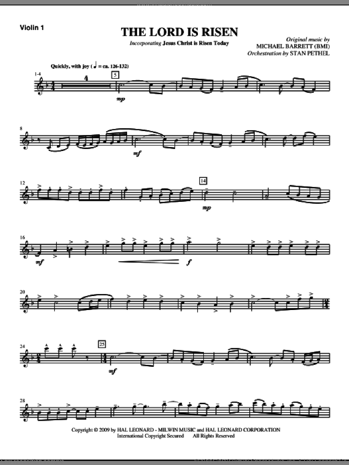 The Lord Is Risen sheet music for orchestra/band (violin 1) by Michael Barrett
