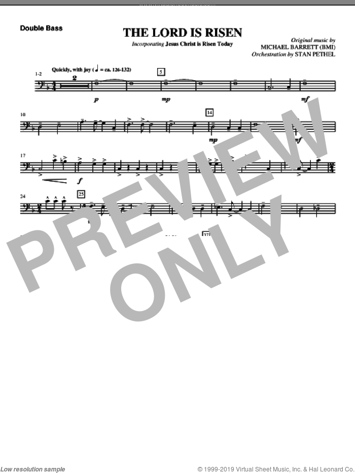 The Lord Is Risen sheet music for orchestra/band (double bass) by Michael Barrett