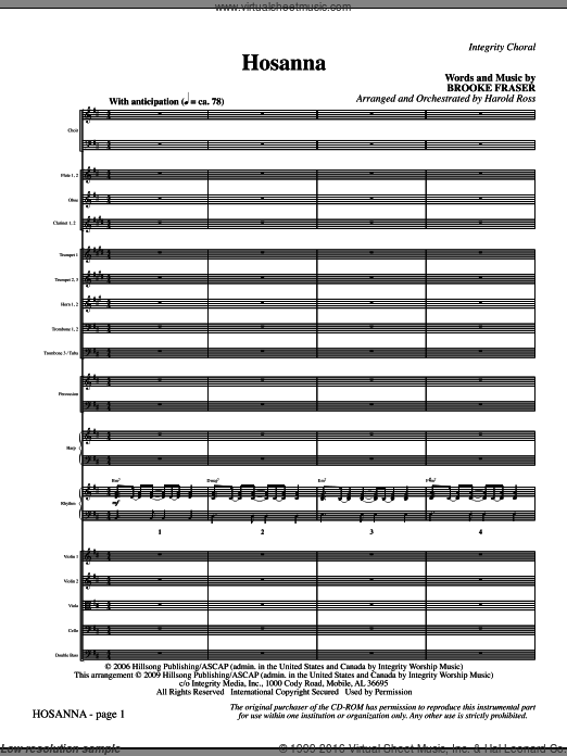 Hosanna (COMPLETE) sheet music for orchestra by Brooke Fraser and Harold Ross, intermediate. Score Image Preview.