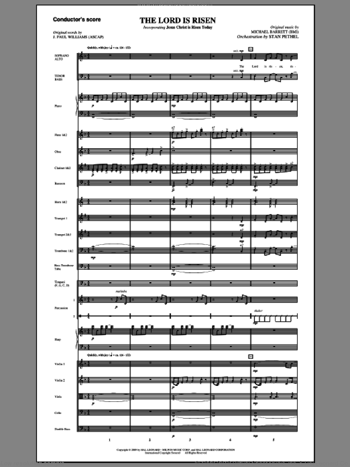 The Lord Is Risen (COMPLETE) sheet music for orchestra/band (Orchestra) by J. Paul Williams and Michael Barrett, intermediate orchestra. Score Image Preview.