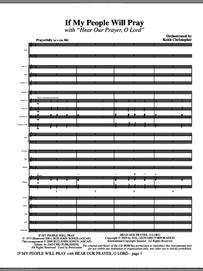 If My People Will Pray (with Hear Our Prayer, O Lord) (COMPLETE) sheet music for orchestra/band (Orchestra) by Ginny Owens and Keith Christopher, intermediate. Score Image Preview.