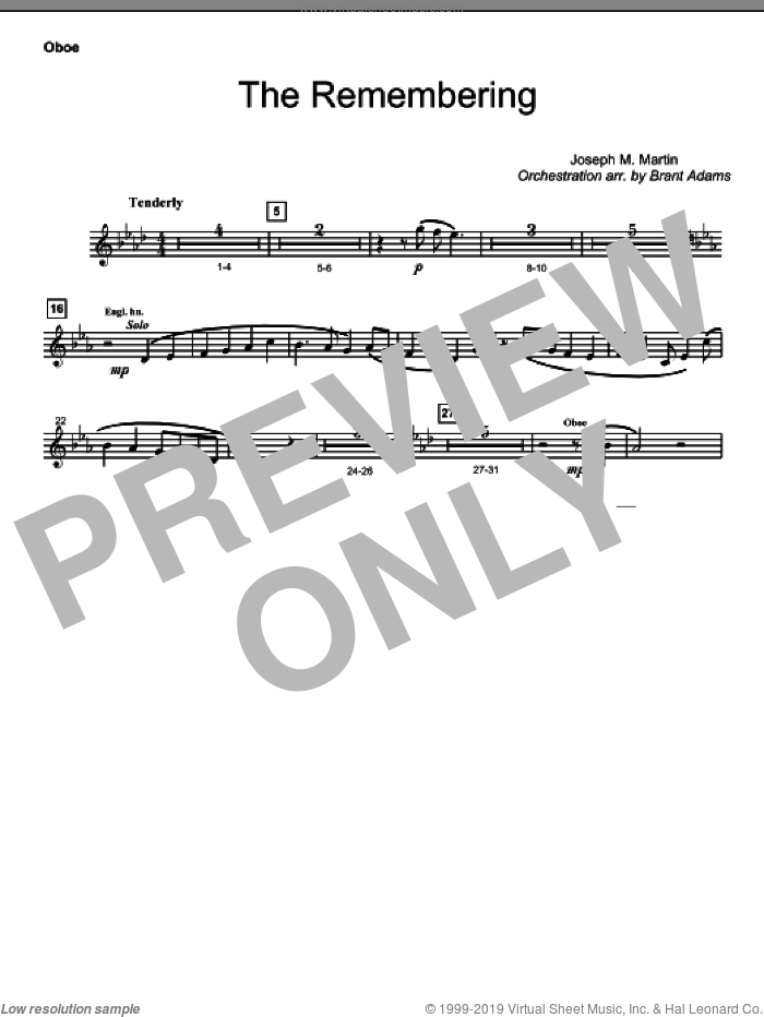 The Remembering sheet music for orchestra/band (oboe)