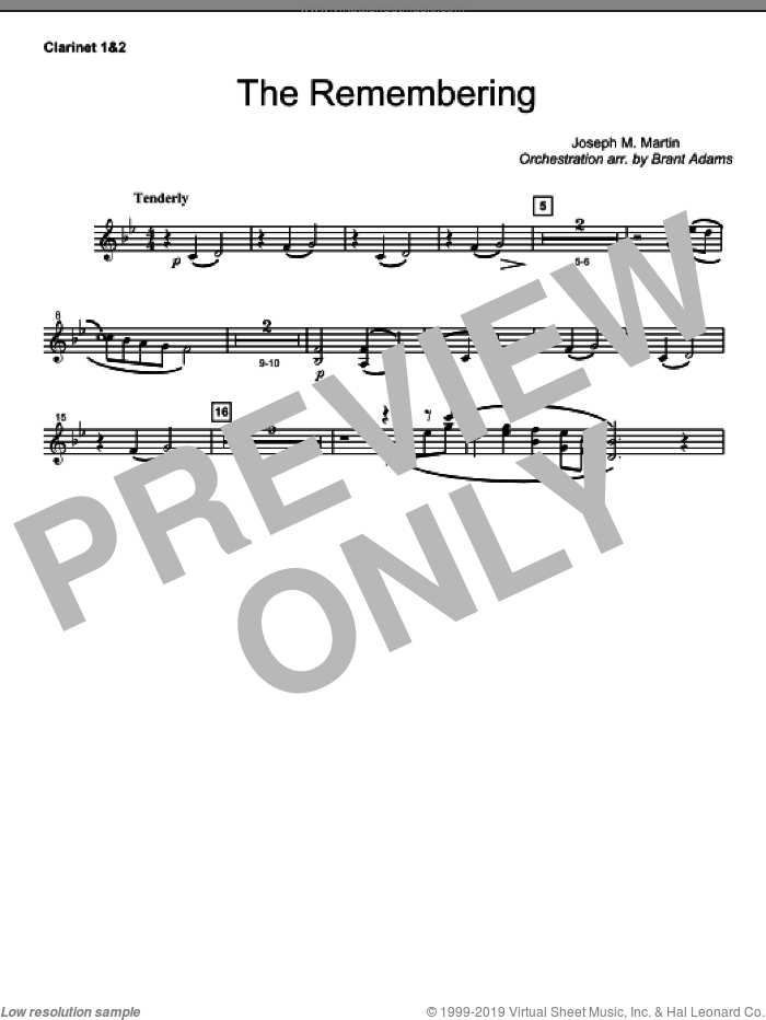 The Remembering sheet music for orchestra/band (Bb clarinet 1,2)