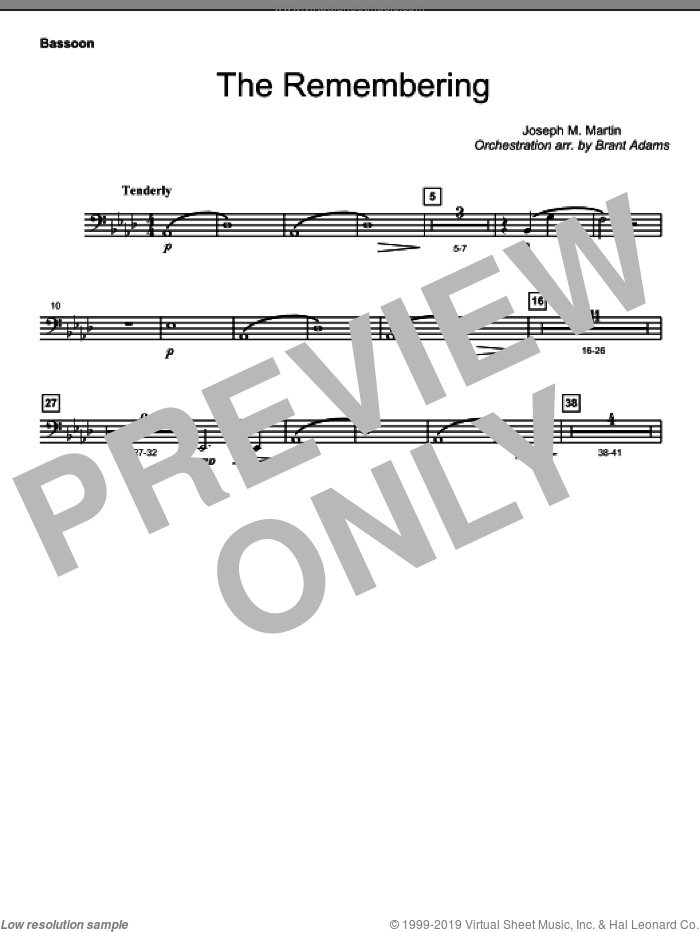 The Remembering sheet music for orchestra/band (bassoon)