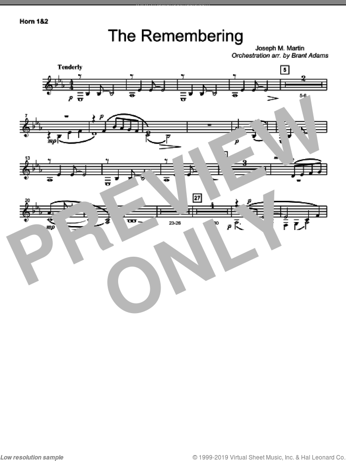 The Remembering sheet music for orchestra/band (f horn 1,2)