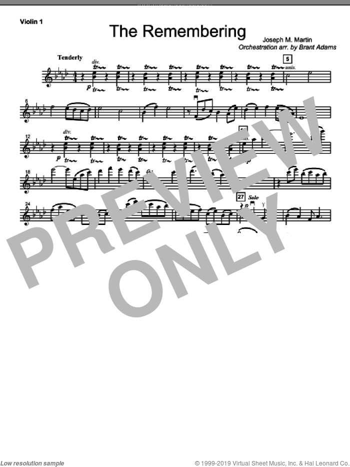 The Remembering sheet music for orchestra/band (violin 1)