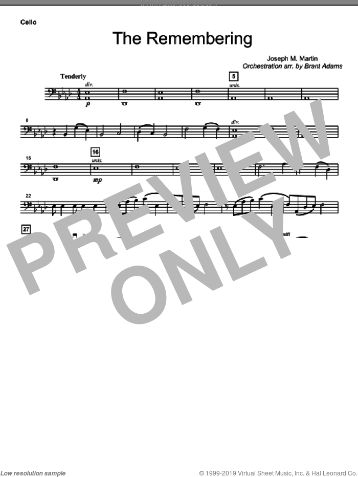 The Remembering sheet music for orchestra/band (cello)