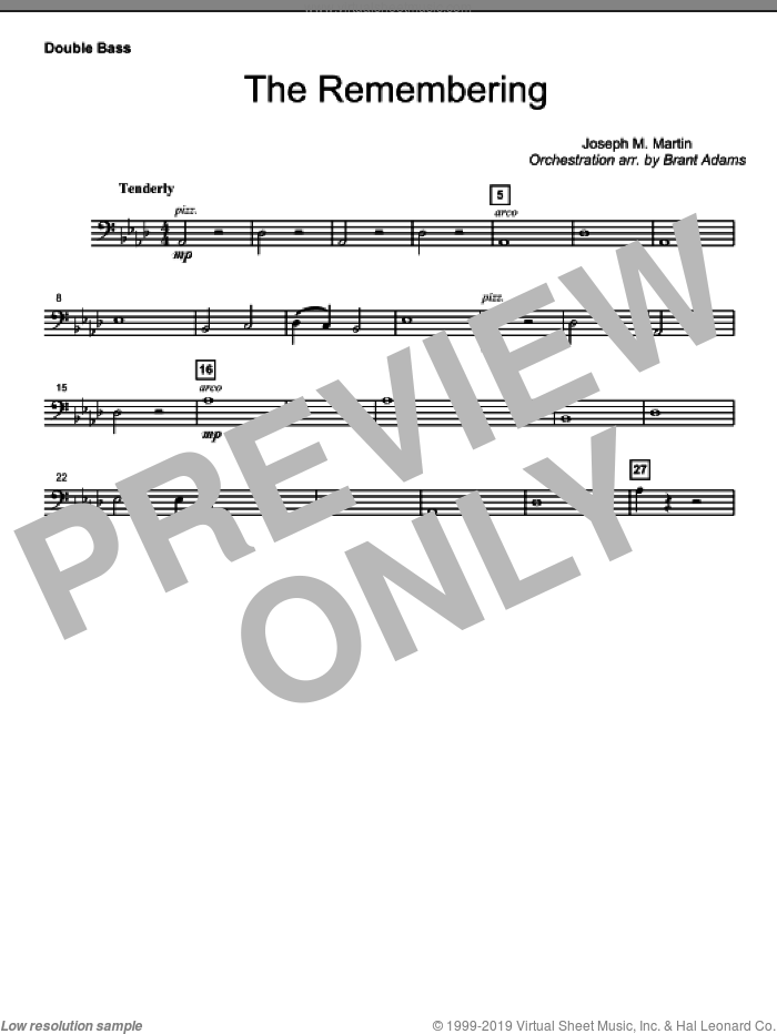 The Remembering sheet music for orchestra/band (double bass)