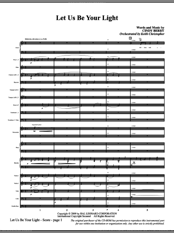 Let Us Be Your Light sheet music for orchestra/band (full score) by Cindy Berry