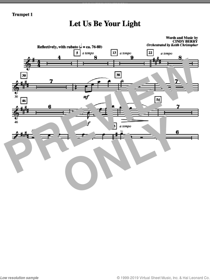 Let Us Be Your Light sheet music for orchestra/band (Bb trumpet 1) by Cindy Berry