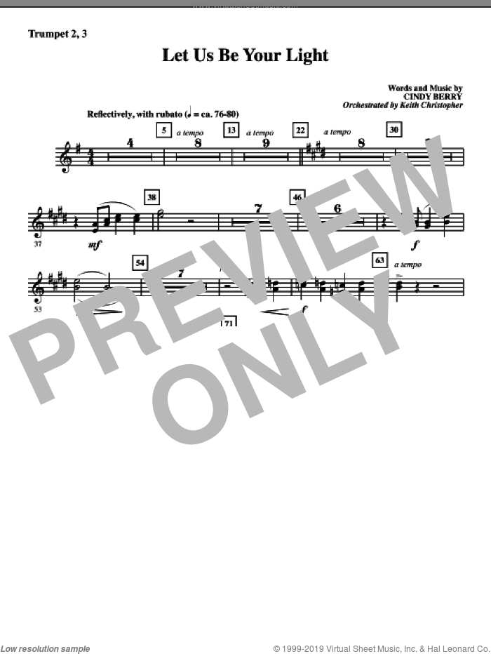 Let Us Be Your Light sheet music for orchestra/band (Bb trumpet 2,3) by Cindy Berry