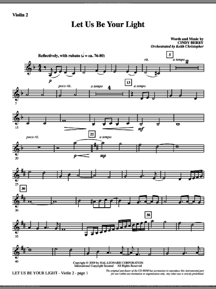 Let Us Be Your Light sheet music for orchestra/band (violin 2) by Cindy Berry