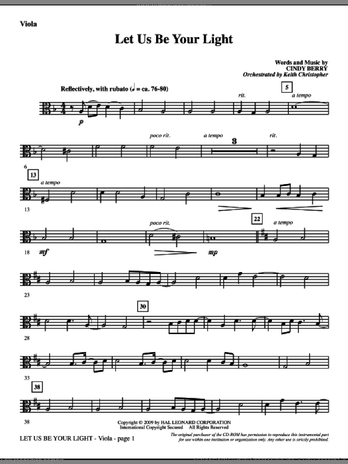 Let Us Be Your Light sheet music for orchestra/band (viola) by Cindy Berry