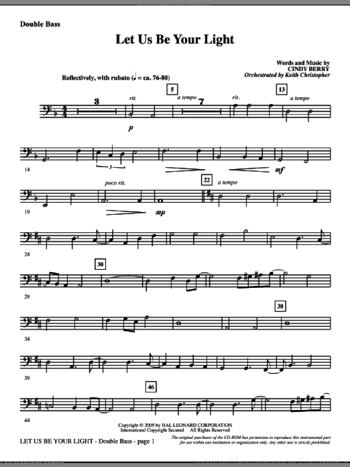 Let Us Be Your Light sheet music for orchestra/band (double bass) by Cindy Berry