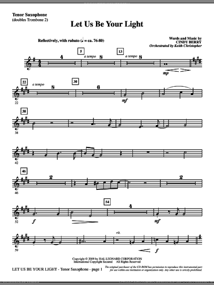 Let Us Be Your Light sheet music for orchestra/band (tenor sax, sub. tbn 2) by Cindy Berry