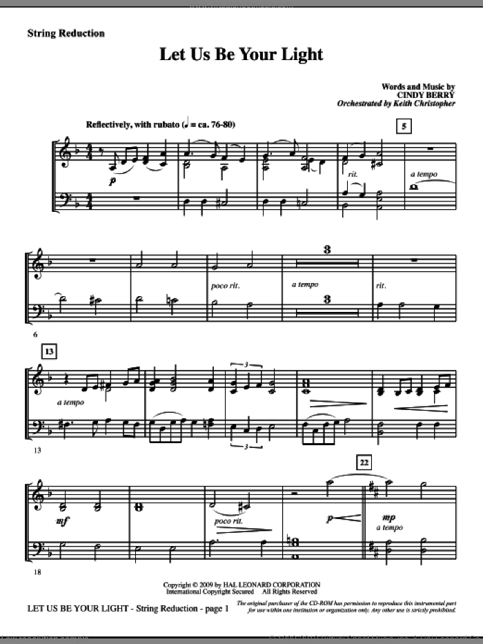 Let Us Be Your Light sheet music for orchestra/band (keyboard string reduction) by Cindy Berry