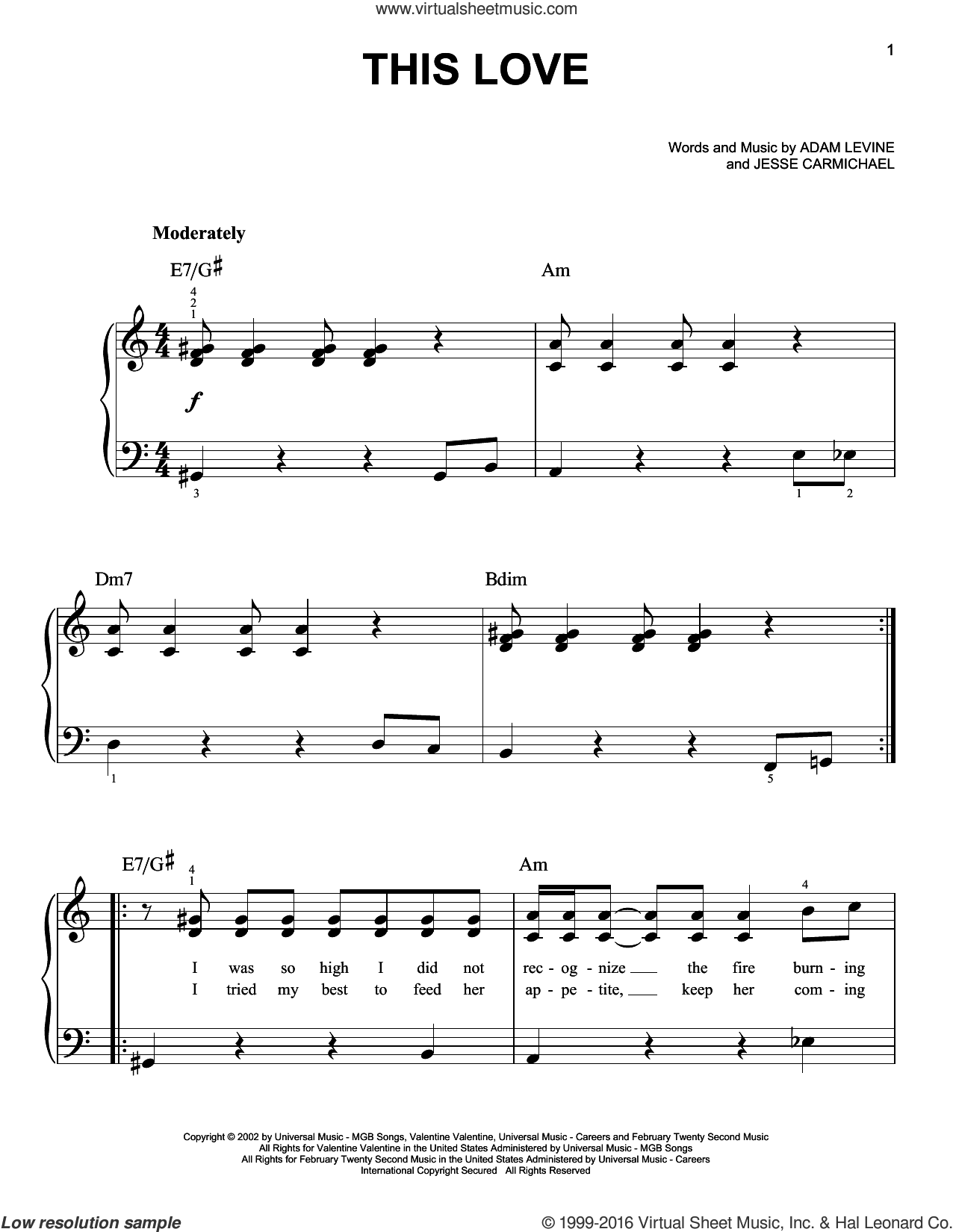 This Love sheet music for piano solo by Maroon 5, Adam Levine and Jesse Carmichael, easy piano. Score Image Preview.
