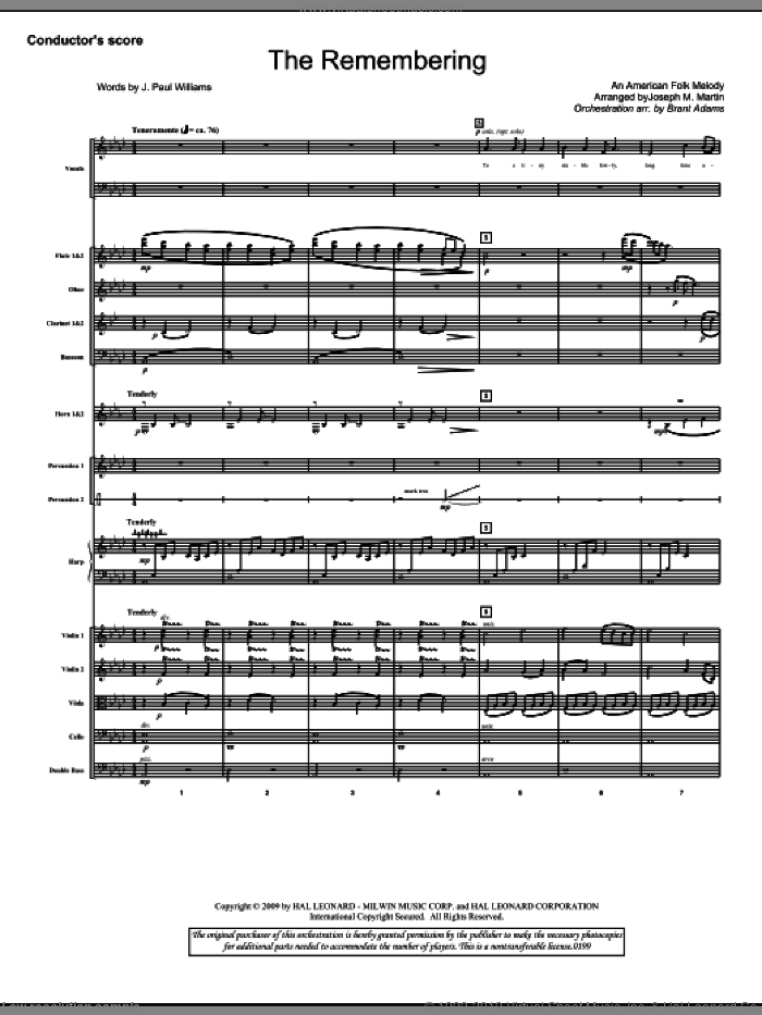 The Remembering (COMPLETE) sheet music for orchestra/band (Orchestra) by Joseph M. Martin, J. Paul Williams and Miscellaneous, intermediate skill level