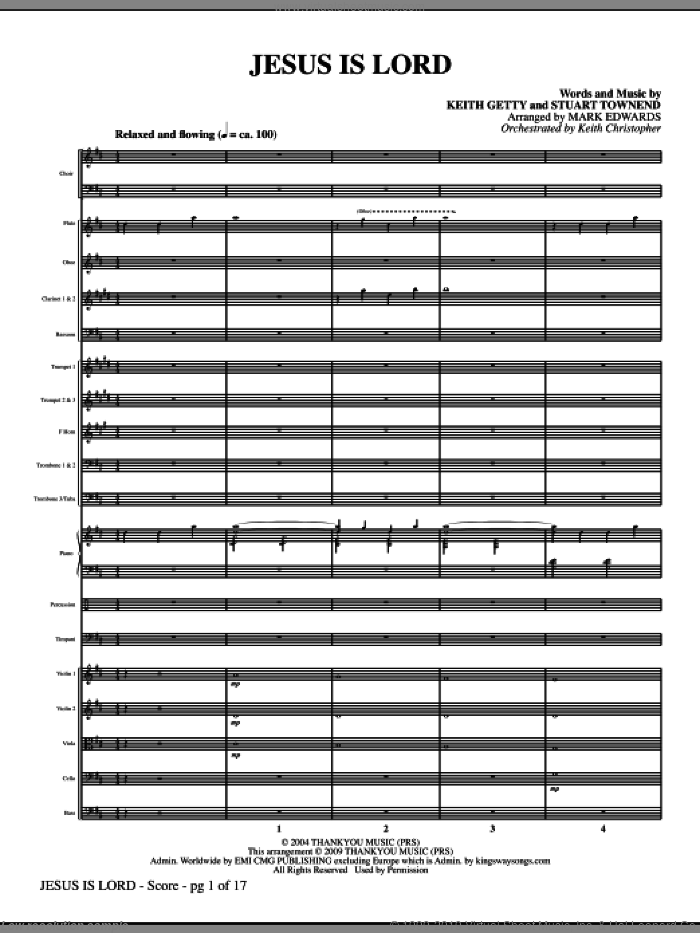Jesus Is Lord (COMPLETE) sheet music for orchestra/band (Orchestra) by Keith Getty, Stuart Townend and Mark Edwards, intermediate skill level