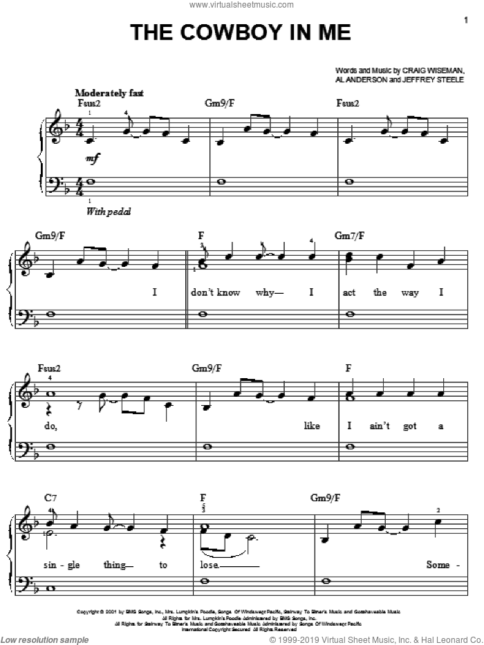 The Cowboy In Me sheet music for piano solo by Jeffrey Steele, Tim McGraw, Al Anderson and Craig Wiseman. Score Image Preview.