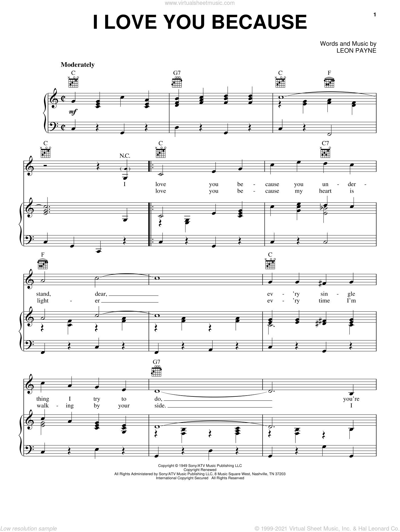 I Love You Because sheet music for voice, piano or guitar by Leon Payne, intermediate skill level