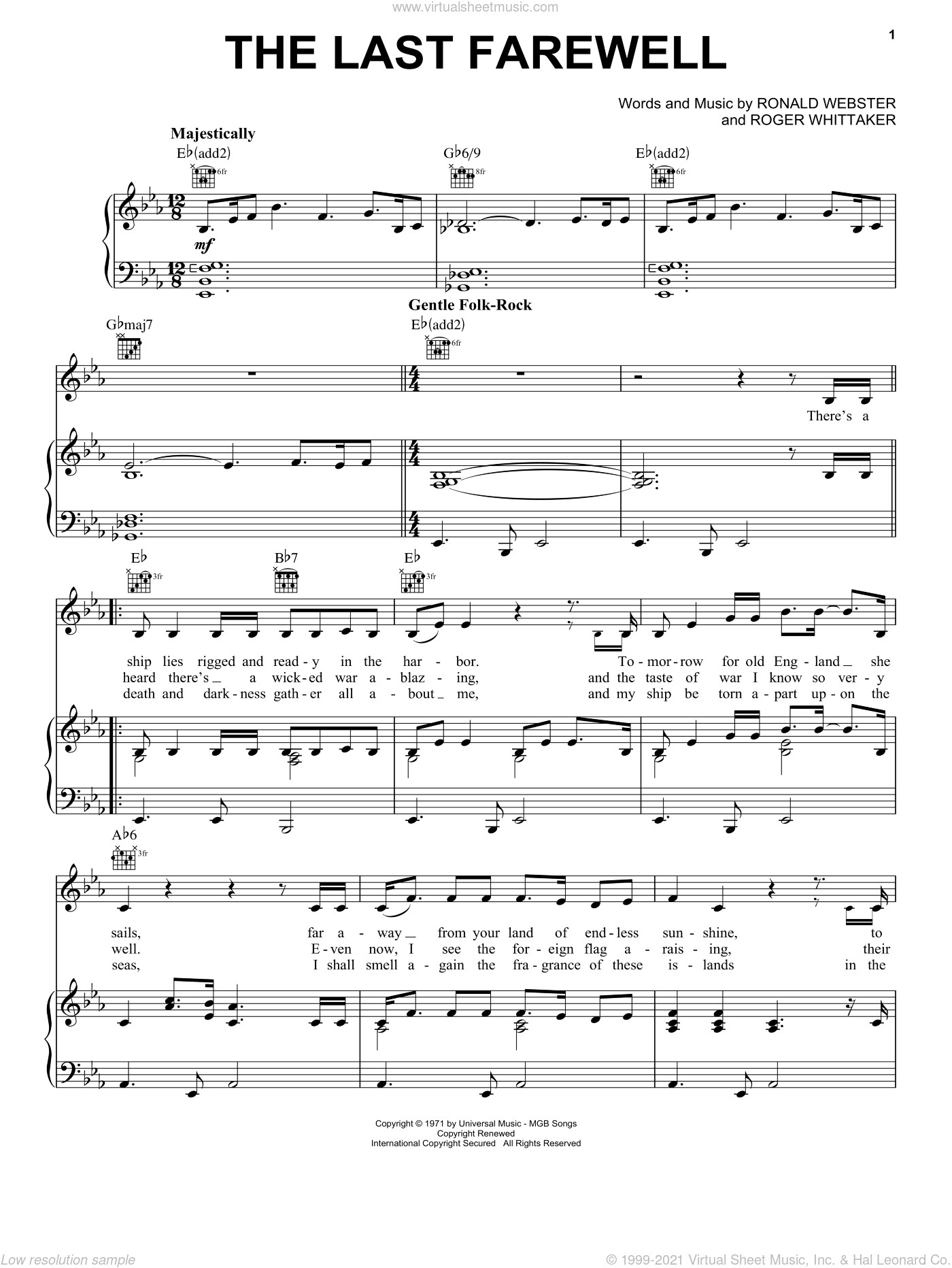 The Last Farewell sheet music for voice, piano or guitar by Roger Whittaker. Score Image Preview.