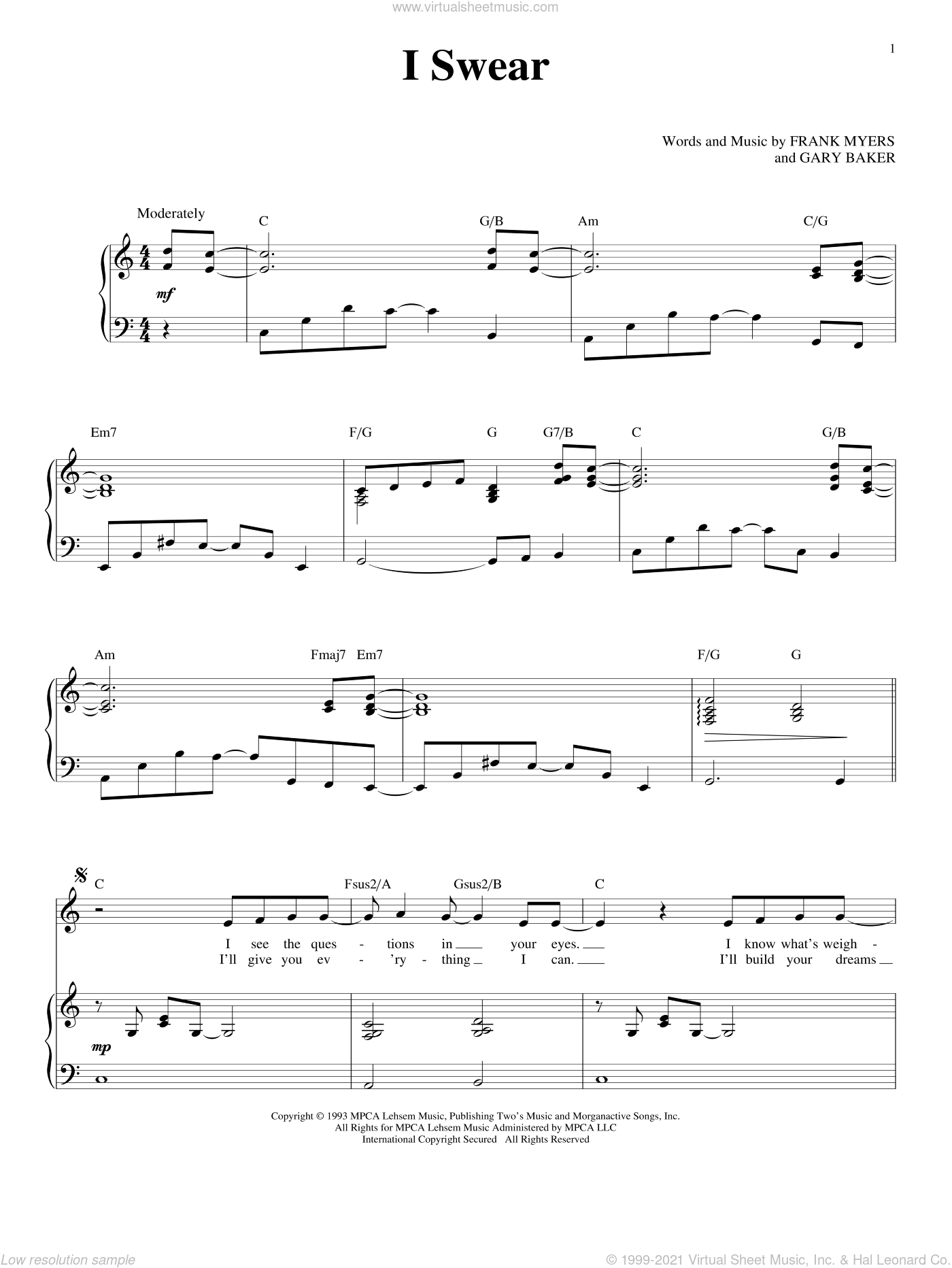 I Swear sheet music for voice and piano by Gary Baker, John Michael Montgomery, David Foster and Frank Myers. Score Image Preview.