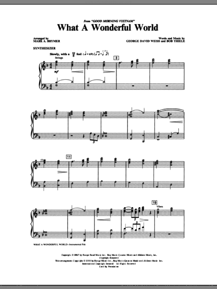 What A Wonderful World (complete set of parts) sheet music for orchestra/band by Mark Brymer, Bob Thiele, George David Weiss and Louis Armstrong, intermediate. Score Image Preview.