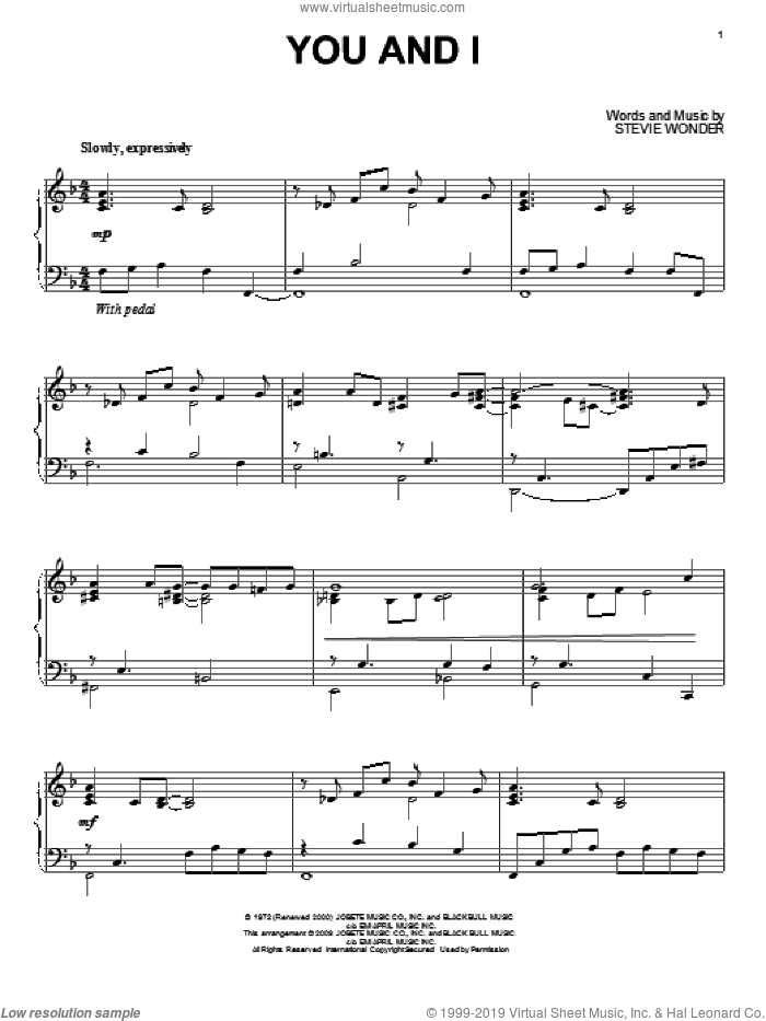 You And I sheet music for piano solo by Stevie Wonder, wedding score, intermediate skill level