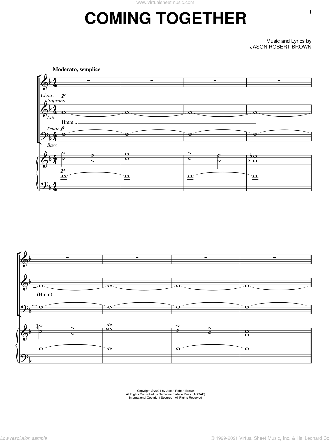 Coming Together sheet music for voice and piano by Jason Robert Brown