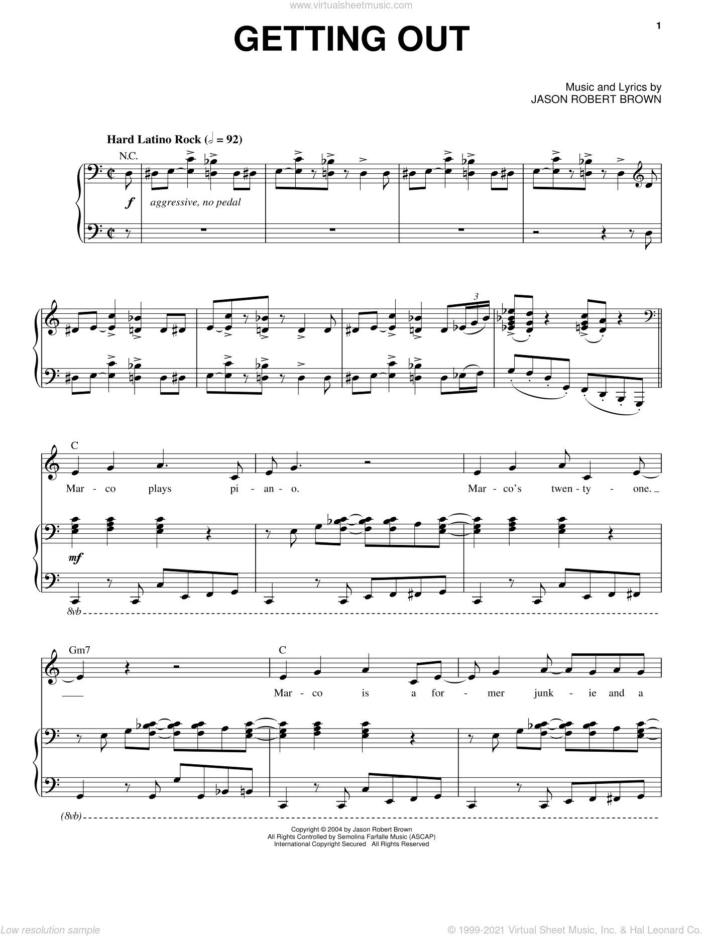 Getting Out sheet music for voice and piano by Jason Robert Brown, intermediate voice. Score Image Preview.