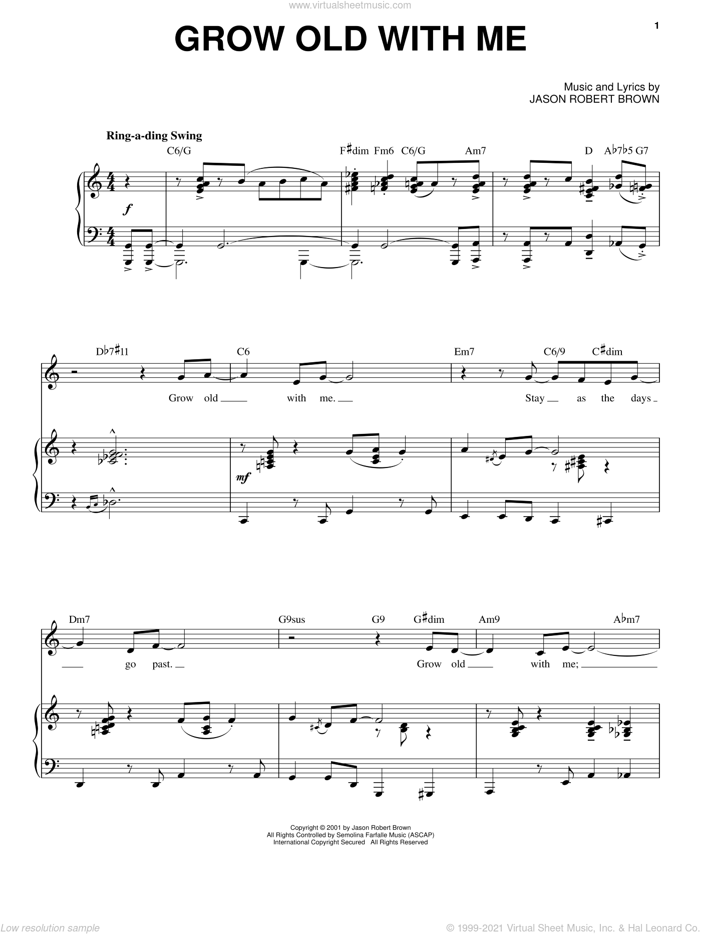 Grow Old With Me (from Wearing Someone Else's Clothes) sheet music for voice and piano by Jason Robert Brown, intermediate skill level