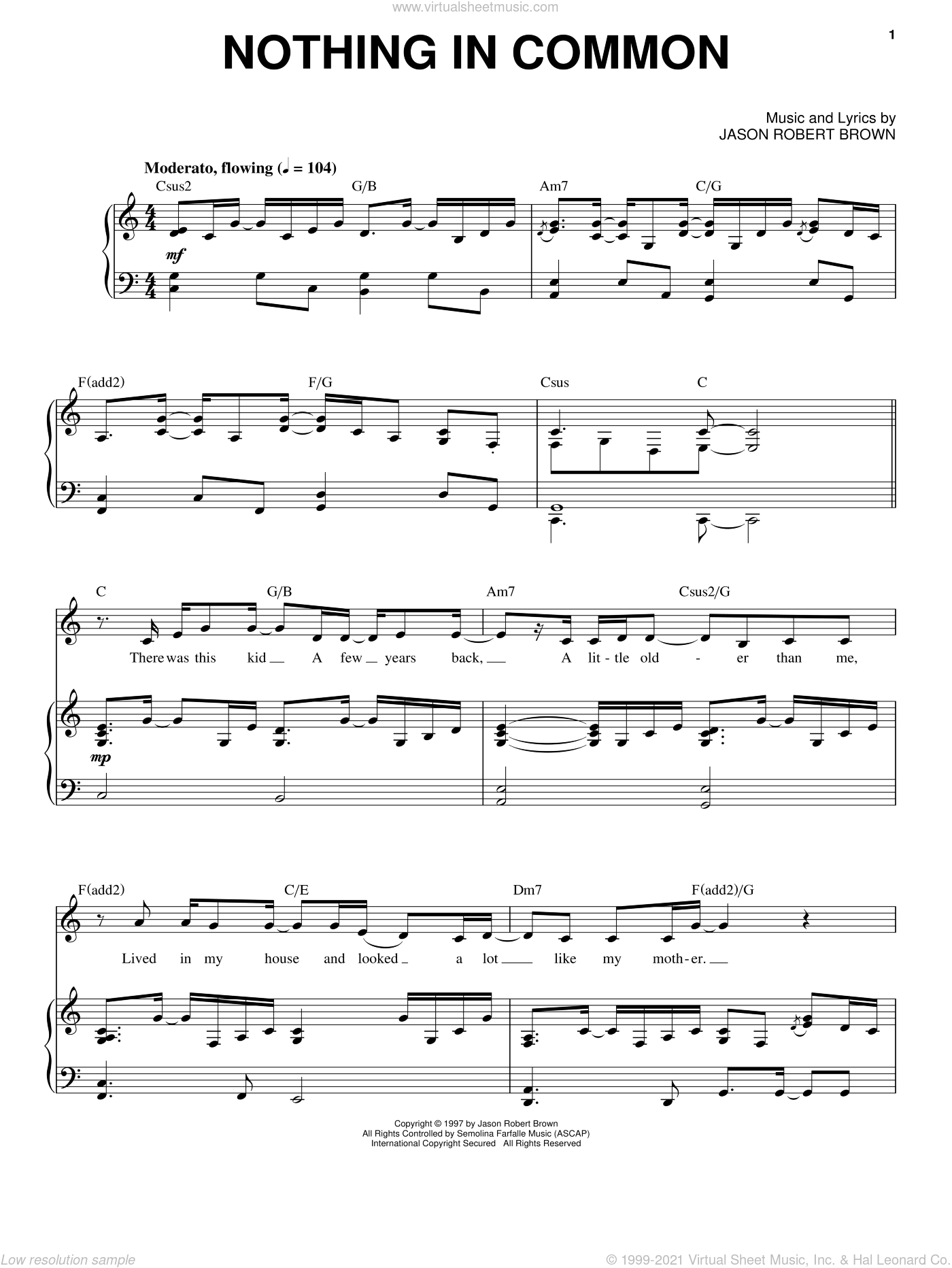 Nothing In Common sheet music for voice and piano by Jason Robert Brown. Score Image Preview.