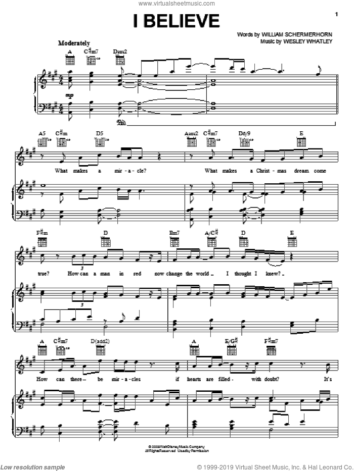 I Believe sheet music for voice, piano or guitar by William Schermerhorn