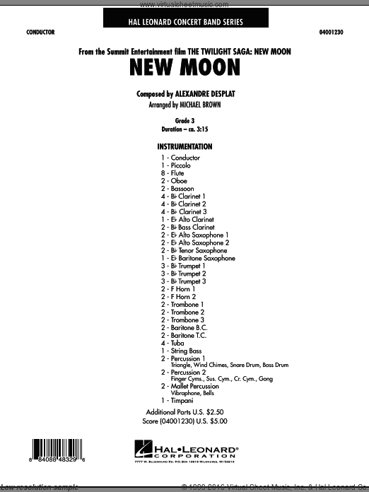 New Moon (The Meadow) (COMPLETE) sheet music for concert band by Alexandre Desplat and Michael Brown. Score Image Preview.