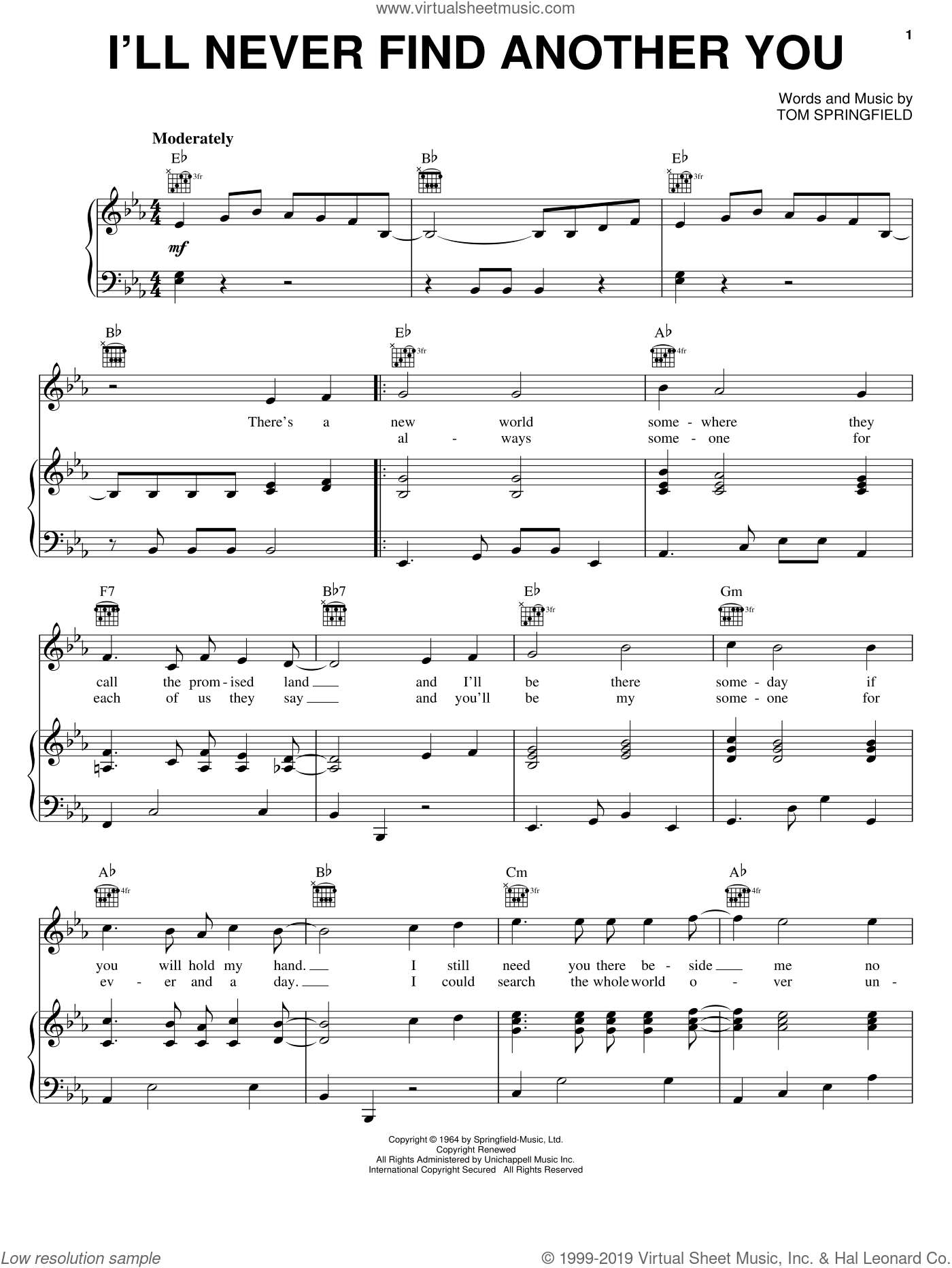 I'll Never Find Another You sheet music for voice, piano or guitar by Tom Springfield