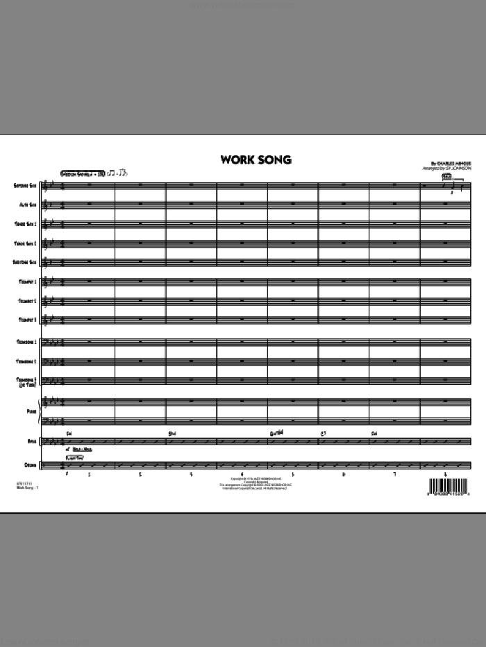 Work Song (COMPLETE) sheet music for jazz band by Charles Mingus and Sy Johnson, intermediate skill level