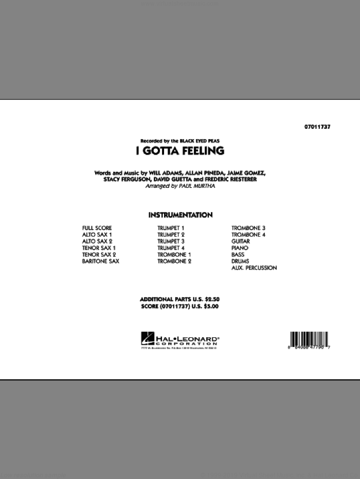 I Gotta Feeling (COMPLETE) sheet music for jazz band by Will Adams, Allan Pineda, David Guetta, Frederic Riesterer, Jaime Gomez, Stacy Ferguson, Black Eyed Peas and Paul Murtha, intermediate skill level