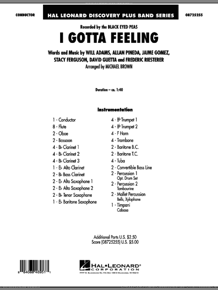 I Gotta Feeling (COMPLETE) sheet music for concert band by Will Adams, Allan Pineda, David Guetta, Frederic Riesterer, Jaime Gomez, Stacy Ferguson, Black Eyed Peas and Michael Brown, intermediate skill level