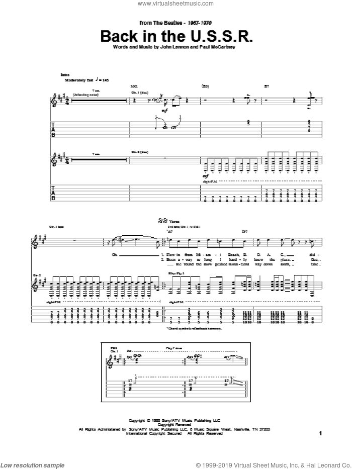 Back In The U.S.S.R. sheet music for guitar (tablature) by The Beatles, John Lennon and Paul McCartney. Score Image Preview.